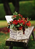 Red berries with leaves in a wooden box out of doors