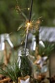 Sternwerfer in Flasche umwickelt mit Kieferzweigen, Zimtstern
