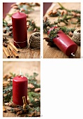 Decorating a candle with ivy, fir sprigs and cinnamon sticks
