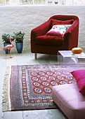 Old Persian carpet in modern sitting room