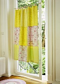 Home-made patchwork curtain