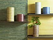 Cylindrical containers on shelves in front of different colored wall paper