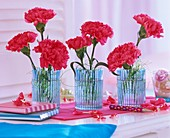 Carnations in three glasses, books and a pen
