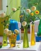 White ball dahlias with coreopsis & prairie cordgrass in vases