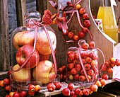 Apples in a jar, apple garland and apple wreath