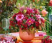 Vase of dahlias, sweet williams, switchgrass & Michaelmas daisies