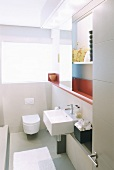 Toilet and wash basin in a bathroom