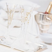 Champagne glasses with painted hearts