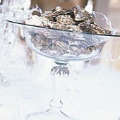 Oysters in a glass pedestal bowl