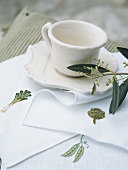 A coffee cup and saucer