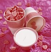 A cup of sugar hearts