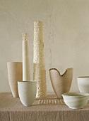 Various white & cream bowls & vases