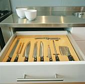 Schubladeneinsatz mit Messern und Geflügelschere in einer Edelstahlküche