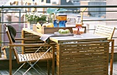 Set table on balcony