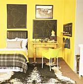 Bed in yellow bedroom