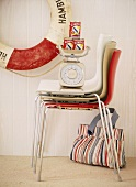 Stacked chairs and kitchen scales