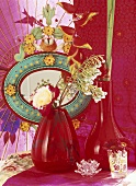 Flowers in red vases
