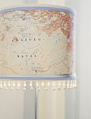Lampshade covered with map decoupage