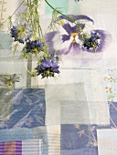 Flowers and fabric swatches