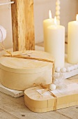 Candles and wooden boxes