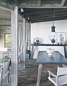 Rustic dining room with simple console table and plain dining table
