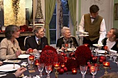 A festive family dinner in an elegant restaurant
