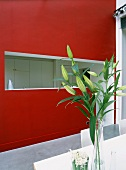 In einer roten Wand eingeschnittene Küchentheke; davor ein Esstisch mit frischer Blumendekoration
