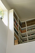 A built in corner bookcase