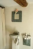 A bathroom with a stone wash basin