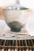 Bowl on linen napkin