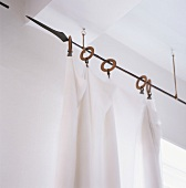 Curtain hung on curtain rod