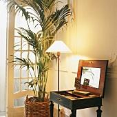 Antiker Sekretär im Empirestil mit Stehleuchte und Pflanze vor einer stuckierten Wand
