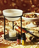 Aroma lamp, various aromatic oils and incense sticks