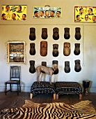 African objets d'art in a living room