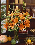 Autumn flower arrangement with lilies