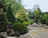 Ornamental garden with box hedges and sculptures