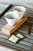 Cups on a wooden holder