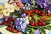 Still life of summer fruit, vegetables and flowers