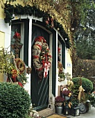 House door decorated with wreaths