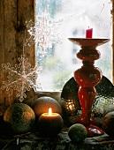 Still-life arrangement with candles