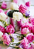 Flowers scattered over a table