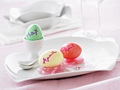 Easter eggs decorated with names