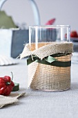 A lantern wrapped with sisal