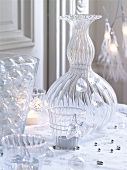 Christmas table with glass decorations