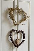Heart-shaped wreaths on a door