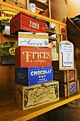 Wooden boxes containing spices, teas etc.