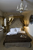 Double bed with breakfast tray in a bedroom