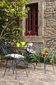 Garden table with artificial strawberries