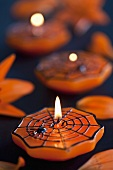 Cobweb candles for Halloween