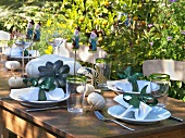Table laid in garden with autumn theme